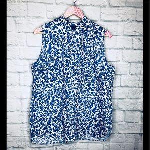 Lands End Shirt Top Size 16 Blue White Floral